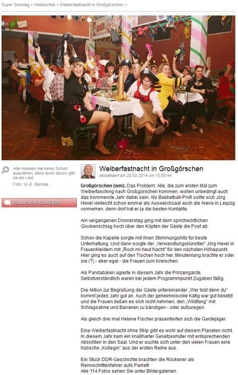 """""""Weiberfastnacht in Großgörschen"""" - SuperSonntag vom 02.03.2014"""